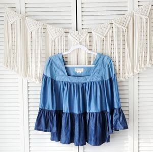KATE SPADE BROOME STREET Ruffle Embroidered Blouse